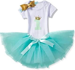 Baby Girl Dress 1st Birthday Outfit Romper Bodysuit+ Tutu Tulle Skirt+Headwear