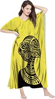 RADANYA Women's African Print Cotton Kaftan Maxi Dress Summer Beach Caftan
