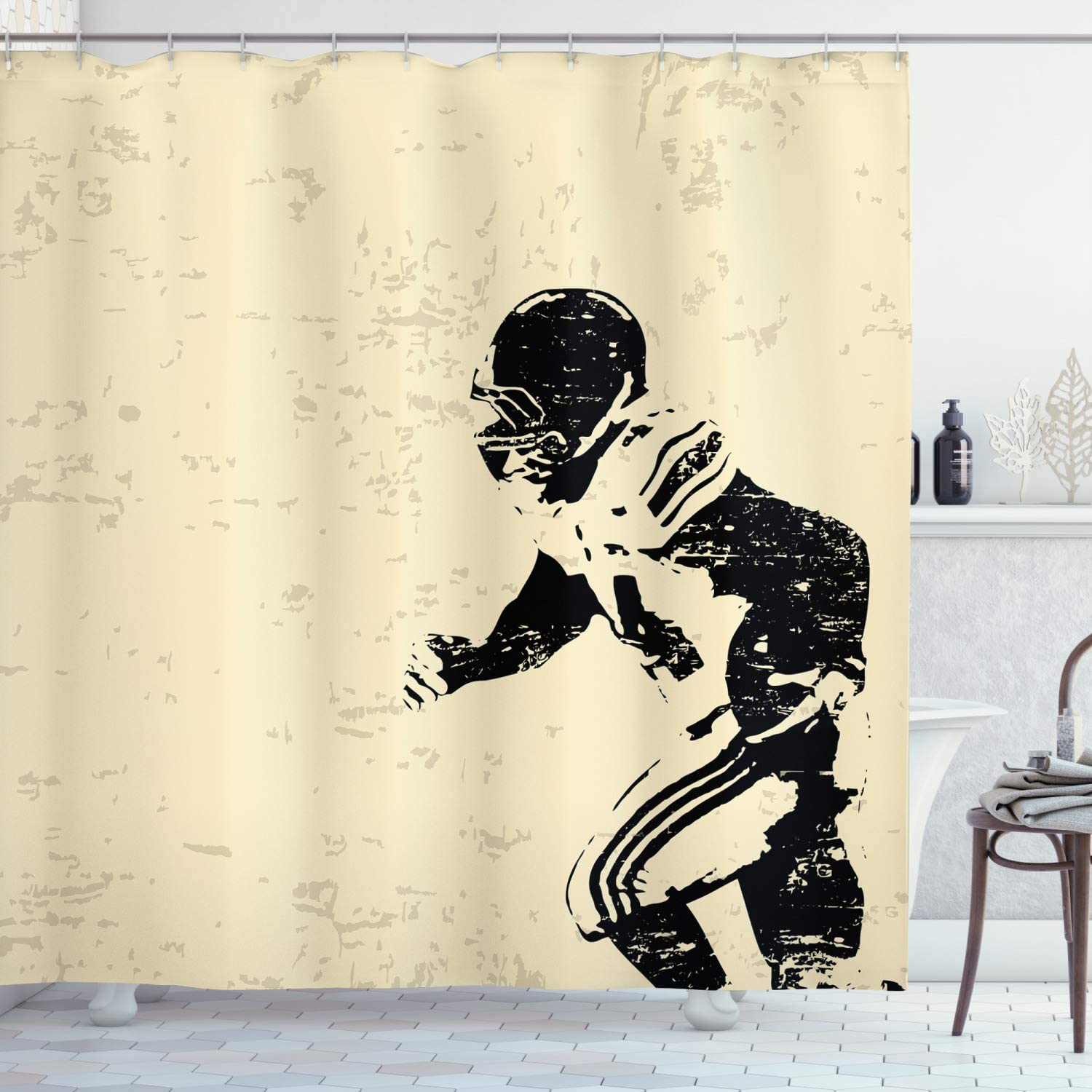 Ambesonne Sports Shower Oklahoma City Mall OFFicial site Curtain Rugby Action Running Player in