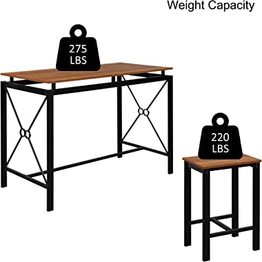 vinking 5 Piece Dining Set 1 Table with 4 Chairs Metal Frame and MDF Board Kitchen Dining Room Furniture for 4 People Black
