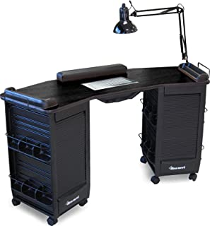 393-V HF Manicure Nail Table Station Vented, Double Lockable Cabinets All Black Made in USA by Dina Meri