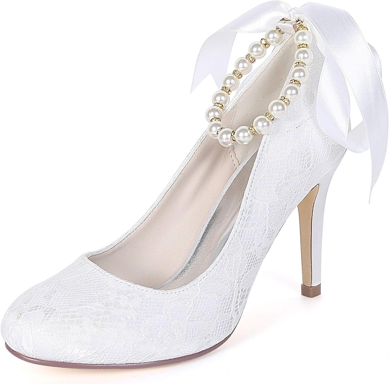 Layearn Frauen Hochzeitsschuhe   9cm Heels Party & & & Abend Perle Chunky Round Toe Kätzchen   FY562  3575e2
