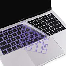 MOSISO Premium Ultra Thin TPU Keyboard Cover Compatible with MacBook Air 13 inch 2019 2018 Release A1932 with Retina Display & Touch ID, Soft Protective Transparent Skin Protector, Ultra Violet