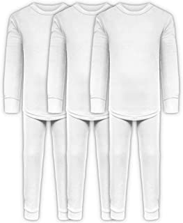 Boys Long John Ultra-Soft Cotton Stretch Base Layer Underwear Sets / 3 Long Sleeve Tops + 3 Long Pants - 6 Piece Mix & Match