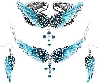 Szxc Jewelry Women's Guardian Angel Wings Cross Pendant Necklace Bangle Bracelet Earrings Biker Jewelry Sets