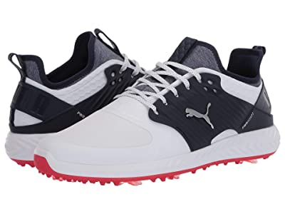 PUMA Golf Ignite PwrAdapt Caged (Puma White/Puma Silver/Peacoat) Men