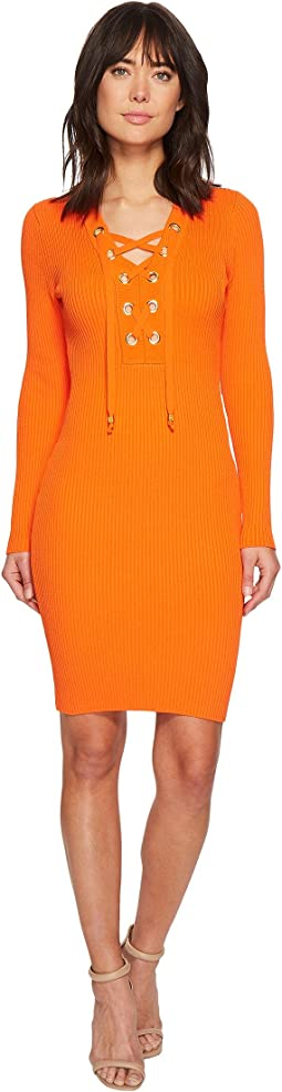 MICHAEL Michael Kors - Lace-Up Rib Dress