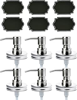 Firefly Craft Stainless Steel Lotion and Soap Pump Dispensers for Mason Jars with Chalkboard Labels, Pack of 6
