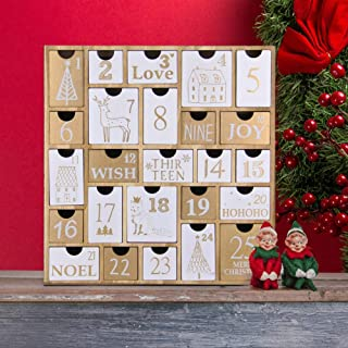 Juegoal Advent Calendar with 25 Drawers Countdown to Christmas, Refillable Wooden Advent Xmas Gift for Kids, 12 Inches Tall