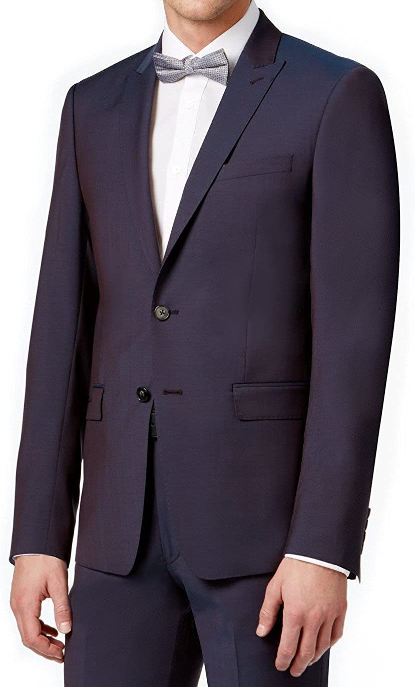 Calvin Klein Spasm price Mens Cheap mail order specialty store Extra Two Button Formal Suit 38 Wine Unfinishe