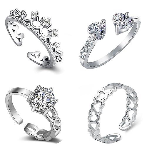 Om Jewells Silver Cubic Zirconia Rhodium Plating Como Of 4 Rings for Women