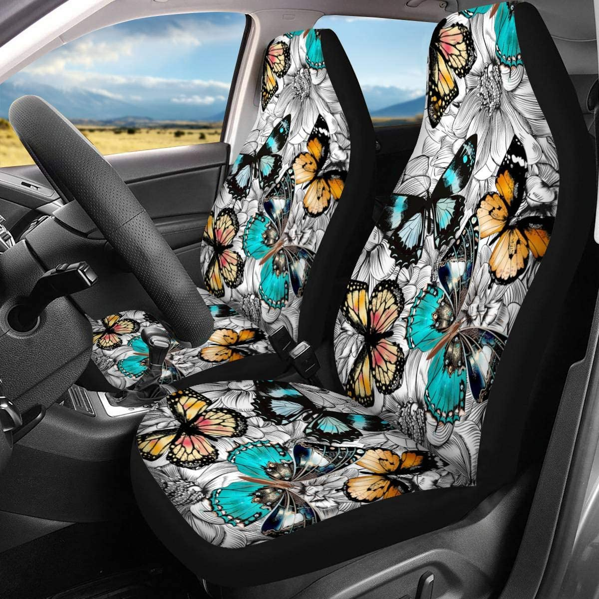 GLENLCWE Galaxy Cosmic Star Print Car Seat Covers for Women Men,Non Slip Car Seat Cushions Seat Protectors Fit for Most Vehicle,Set of 2