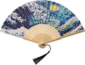 AIRDEA DIY Paper Folding Fan for Women Oil Painting Handheld Folding Fans Chinese Japanese Bamboo Fan Kit for Home Wall Décor Party Favors (Without Base) Blue