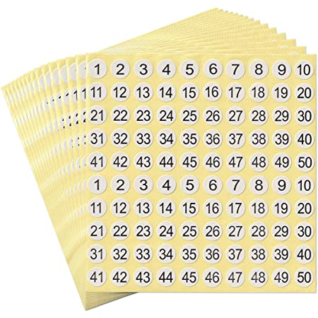 Number Stickers 1 to 100 Round Self-Adhesive Numbers for Labels Storage Organizing Sticker 30 Sheets