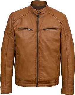 HIDEPARK Budd: Men's Tan Leather Biker Jacket