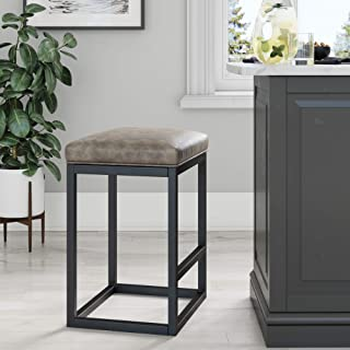 Nathan James 22102 Nelson Bar Stool with Leather Cushion and Metal Base, 24
