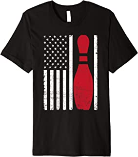 Bowling Pin USA American Flag Patriotic Father's Gift Idea - Premium T-Shirt