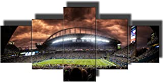 Framed Wall Art for Living Room Seattle Seahawks Pictures Super Bowl NFL Paintings 5 Piece Canvas Artwork Home Decor,Giclee Gallery-wrapped Stretched Ready to Hang Posters and Prints(50''Wx24''H)