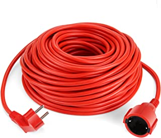 SIMBR Alargador Electrico 30m Cable de Corriente IP20 H05VV para Exteriores Prolongador Electrico de Color Rojo