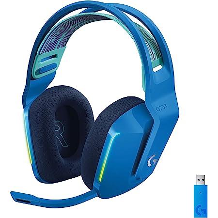 Logitech G733 LIGHTSPEED Auriculares con Micrófono Inalámbricos para Gaming con Diadema con Suspensión, LIGHTSYNC RGB, Tecnología de Micrófono Blue VO!CE, Ligeros, 29h de batería - Azul