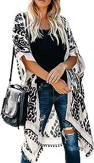 Womens Fashion Print Kimono Tassel Casual Cardigan Loose...