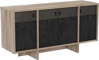 Miroytengo Mueble aparador Sagel Salon 4 Puertas Estilo Industrial Vidrio Serigrafiado 142x42 cm