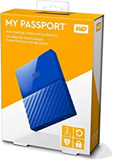 WD 1TB My Passport  Portable External Hard Drive USB 3.0 - Blue, WDBYNN0010BBL