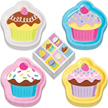 Candy & Cupcake Party Supplies - Cupcake Shaped Paper Dessert Plates and Candy Sprinkle Beverage Napkins (Serves 16)
