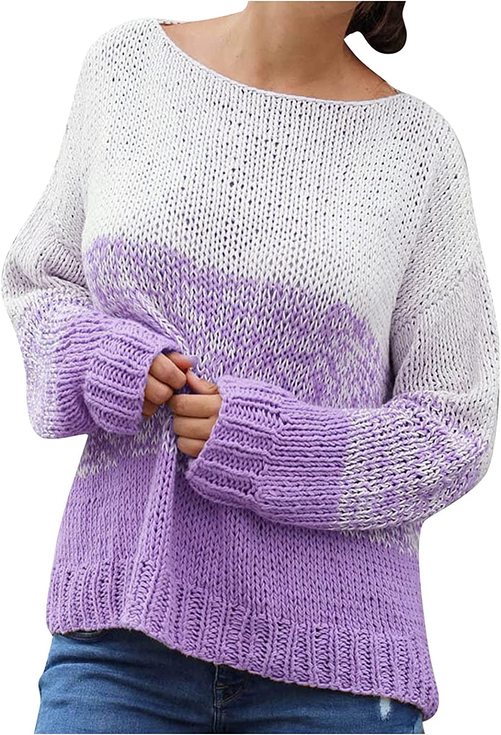 Women's Autumn Loose Color-Blocking Pullover Long-Sleeved Sweater, Long Sleeves Plus Size Shirts Loose Tops AA1741