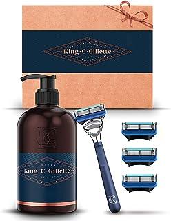 King C. Gillette Beard Grooming Kit for Men, Edging Razor + 3 Refill Blades + Face Wash, Gift Set Ideas for Him/Dad