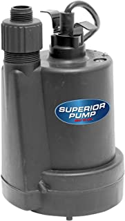 Superior Pump 91025 1/5 HP Thermoplastic Submersible Utility Pump with 10-Foot Cord
