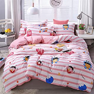 Cenarious Pink Stripes Sesame Street Cartoon Style Duvet Cover Set Microfiber Polyester Flat Sheet Bed Cover - 3Pcs Bedding Set - Twin Flat Sheet Set - 61