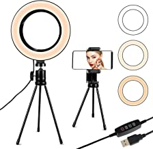 ATPATT 6.3in ring light, with tripod mobile phone holder, LED selfie ring light, with 3 lighting modes and 11 brightness levels, desktop ring light, for YouTube video/photography/makeup live broadcast