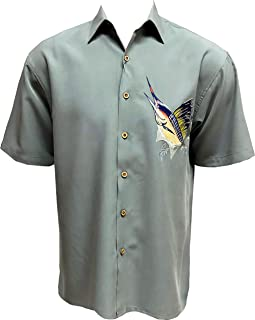 Bamboo Cay Mens Short Sleeve Mighty Sailfish Casual Embroidered Woven Shirt