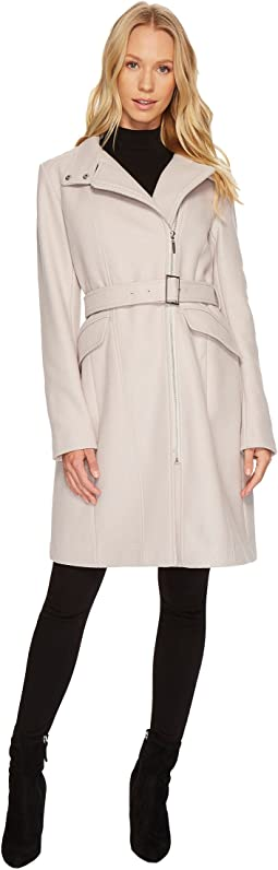Cole Haan - Exposed Zip Front Belted Coat