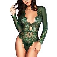 b525d3c80a Women Sexy Lingerie Long Sleeve Bodysuit Lace Deep V Bodysuit Lingerie  Sheer Teddy Lingerie