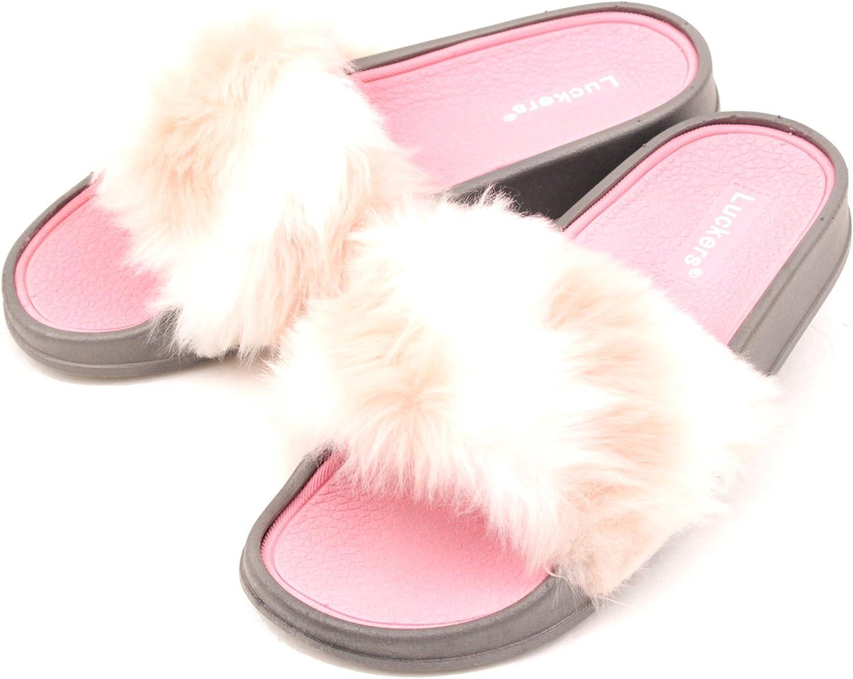 Luckers Women's Trendy Fur Slide Sandals