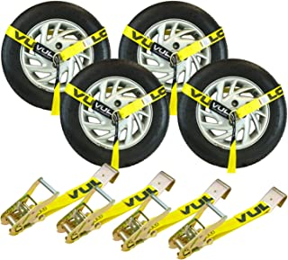 VULCAN Classic Yellow 2 Inch x 96 Inch Lasso Style Auto Tie Down with Flat Hooks - 3300 lbs. Safe Working Load, 4 Pack - Easily Trailer Any Car, Truck, SUV, Jeep, Or Sportscar
