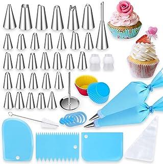 Douilles Pâtisserie, 60 Pièces Acier Inoxydable DIY Kits pour Décoration de Gâteaux Cupcakes, 31 Douilles 12 Poche Pâtisse...