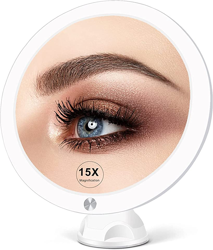 15X Lighted Magnifying Mirror with Lights - Large 8 Inch Makeup Mirrors with Suction Cups and Magnification for Bathrooom, Dual Power Supply, Adjustable Lighting, Light Up Magnified Mirror