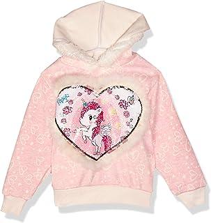 Baby Shoora Faux-Fur Sequin Embellished Heart-Pattern Hoodie for Girls