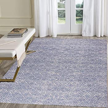 HEBE Large Cotton Area Rug 4' x 6' Machine Washable Printed Hand Woven Cotton Rug for Living Room, Bedroom, Laundry Room, Entryway,Blue