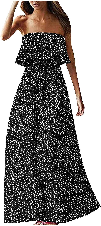 OCLUN Women Tube Top Maxi Dress Boho Strapless Sundress Spaghetti Strap Tiered Ruffle Sleeveless Backless Long Dress Summer