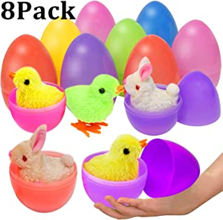 Double Couple 8 Pack Easter Eggs Filled with Wind-Up Rabbits and Chics Surprise Prefilled Plastic Easter Egg Toys Set for Party Favors Easter Basket Stuffers Fillers (4 Rabbits and 4 Chicks)