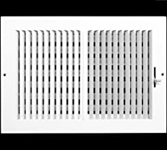 "12""w X 8""h 2-Way Vertical AIR Supply Grille - Duct Cover & Diffuser - Flat Stamped Face - White [Outer Dimensions: 13.75""w X 9.75""h]"