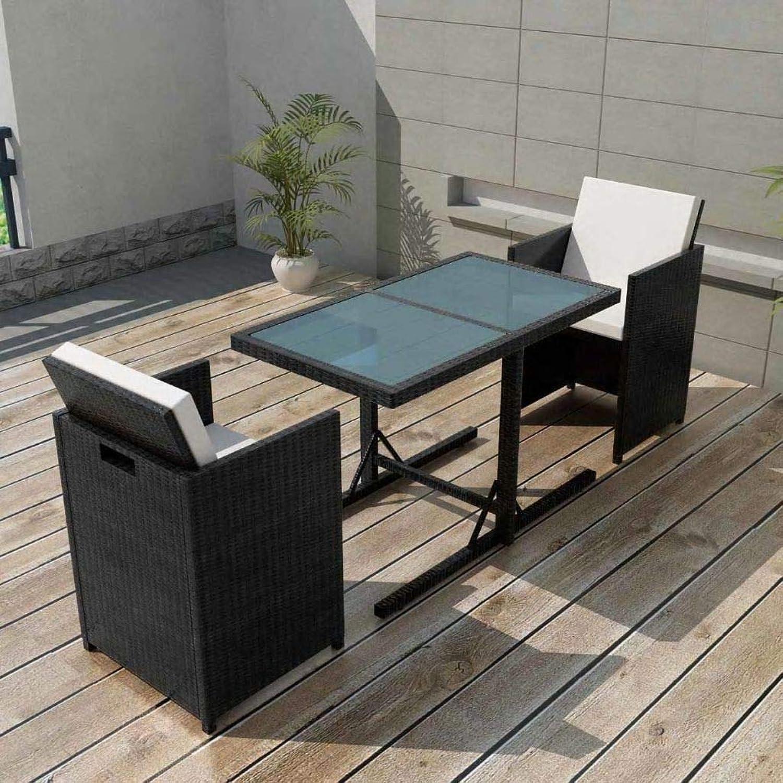 Tidyard 7-TLG. Garten-Essgruppe Poly Rattan Gartengruppe Gartenmbel Gartengarnitur Schwarz Terrasse Sitzgruppe 1 Tisch mit Glasplatte, 2 Stühle und 4 Sitzpolster