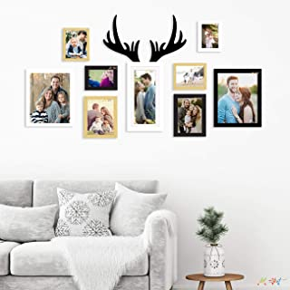 Art Street Set of 9 Individual Multicolor Wall Photo Frames Wall Hanging with Horn Shape Plaque (4 Units 4X6, 2 Unit 6X8, ...