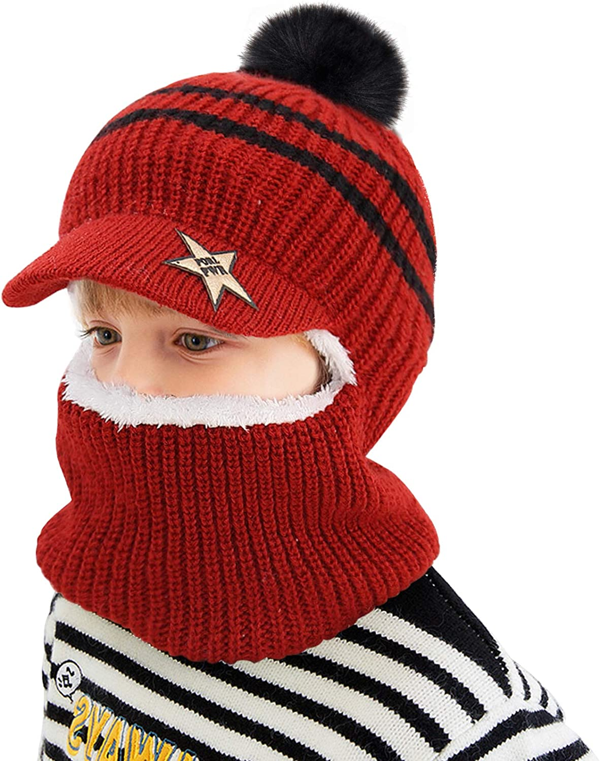 Wine Red Baby Knitted Wool Hat Scarf Designed with Eaves- Warm Plush Wool Lined Knit Hood Beanie Kids Ski Skull Cap with Neck Warmer Earflaps for Children Toddlers Cold Weather Outdoor Sports