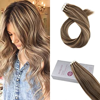 Moresoo 16 Inch Tape in Seamless Hair Extensions 20PCS/50G Color #4 Brown Mixed with #27 Blonde Silky Straight Human Hair Glue in Remy Real Hair Extensions