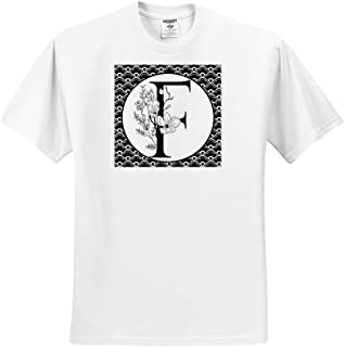 3dRose Anne Marie Baugh ts/_318033 Adult T-Shirt XL Black and White Floral Monogram G On Fancy Scallops Monograms